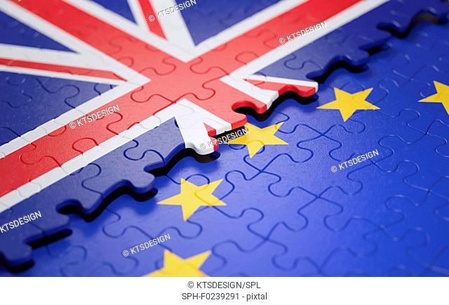 UK and EU flag jigsaw puzzle
