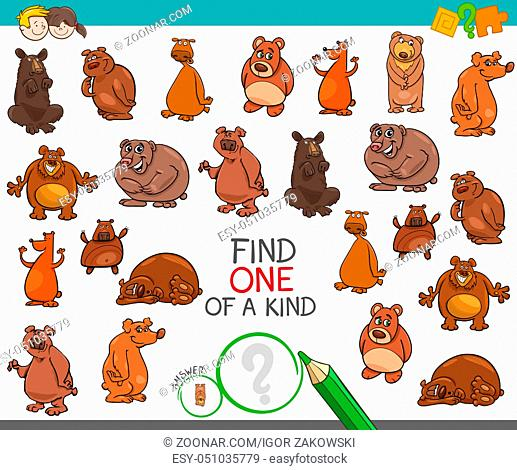 Cartoon Illustration of Find One of a Kind Picture Educational Activity Game for Children with Bear Animal Characters