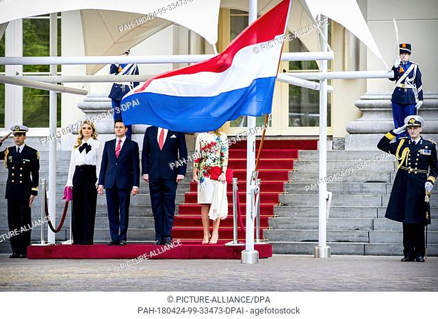 King Willem-Alexander and Queen Maxima of The Netherlands receive president Pena Nieto of Mexico and his wife Angelica Rivera de Pena at Palace Noordeinde in...