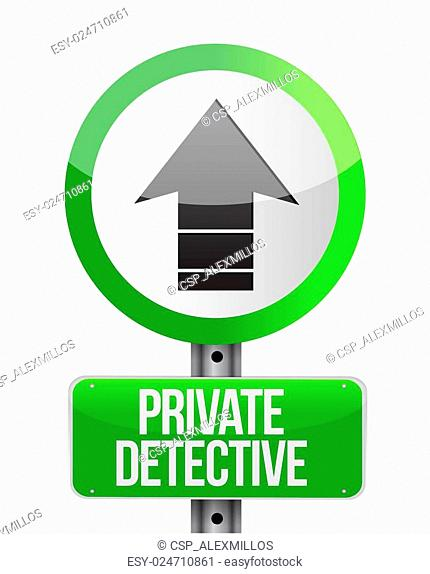 private detective road arrow sign concept