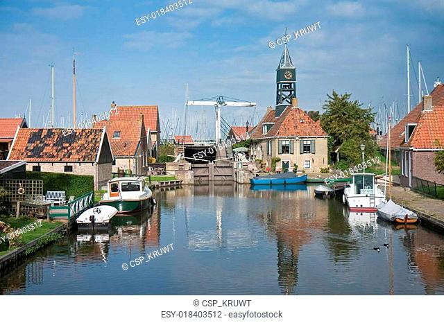 Picturesque seafront from the old Dutch fishing village Hindelopen