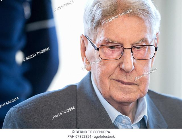 Defendant Reinhold Hanning at the court room in Detmold, Germany, 29 April 2016. The 94-year-old former SSoverseer Hanning is accused of complicity in murder...