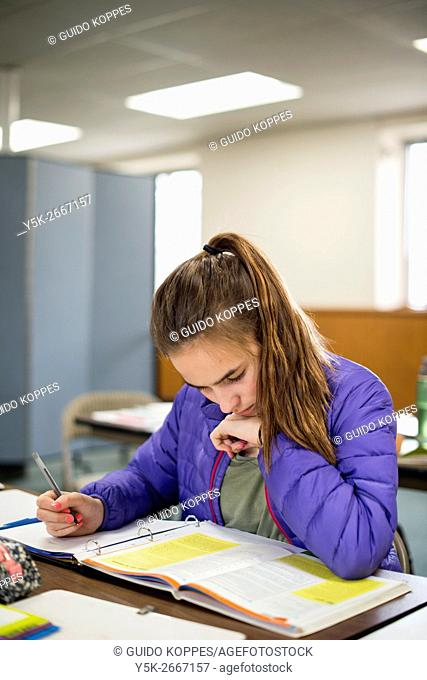Harrison, New York, USA. Female primary school student attending her lessons at the school for Dutch Language & Culture