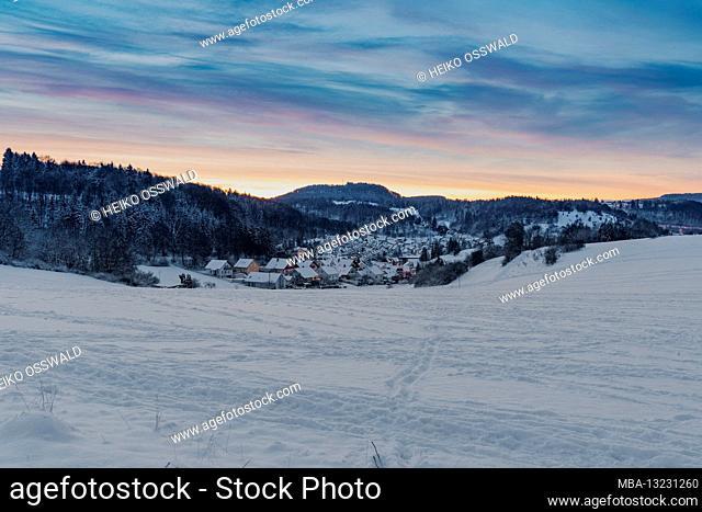 Winter, winter world, snow, Albstadt, Onstmettingen, sunrise, Swabian Alb, Baden-Wuerttemberg, Germany, Europe