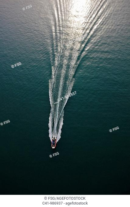 Aerial view of motorboat
