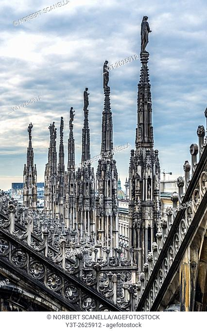 Europe. Italy. Lombardy. Milan. Duomo. The cathedral spiers