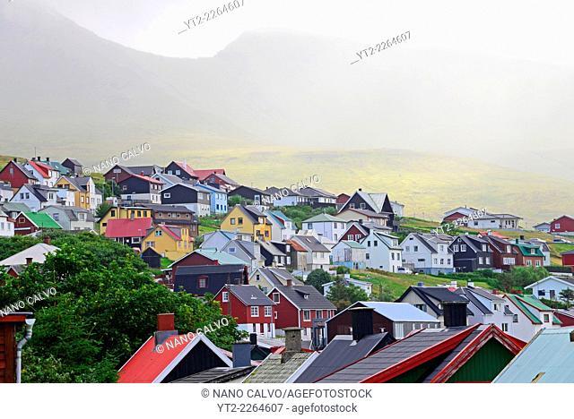 Miðvágur, village in Vágar, Faroe Islands