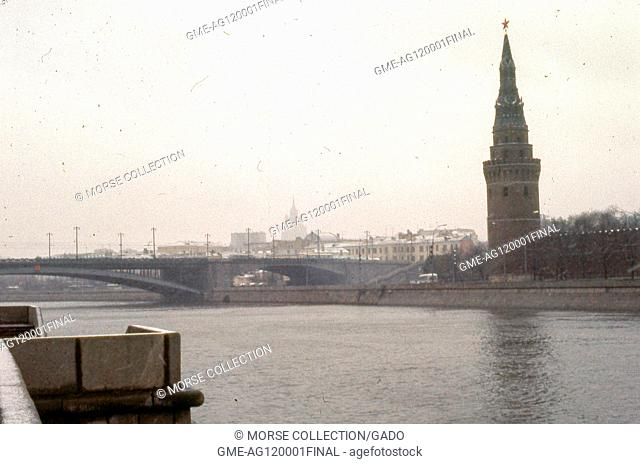 View facing west of the star-capped Vodovzvodnaya Water Pump Tower along the southern wall of the Kremlin complex, November, 1973