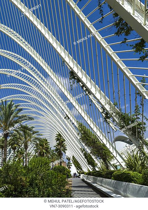 The Umbracle, open-air mediterranean garden part of the City of Arts and Sciences complex, Valencia, Spain, Europe