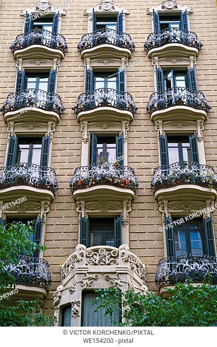 Apartment building facade in Barcelona