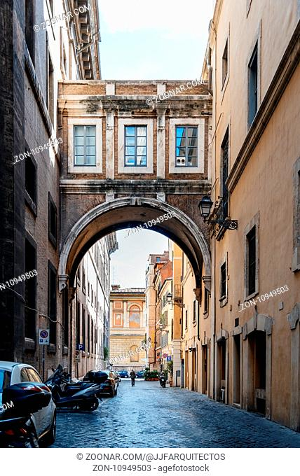 Rome, Italy - August 18, 2016: Via de St Ignatius. Street in historical centre of Rome a sunny summer day