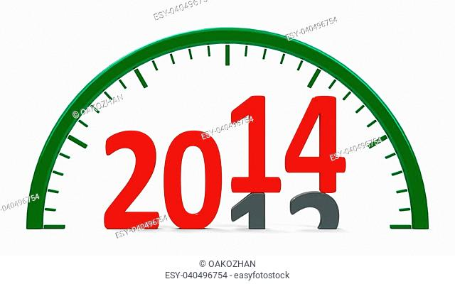 Clock dial with 2013-2014 change represents the new 2014, three-dimensional rendering