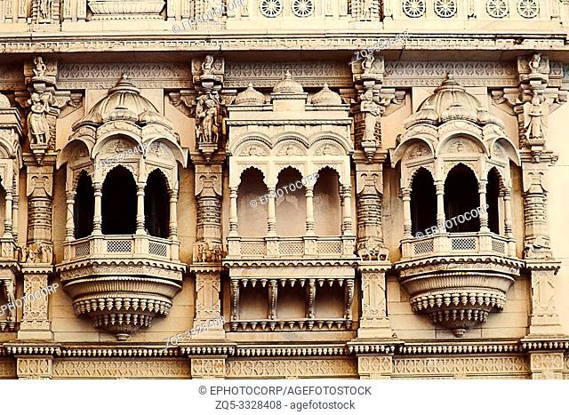 Jain temple windows architecture near chatrapati Shivaji market, Camp, Pune, Maharashtra
