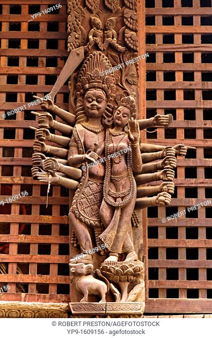 Wooden carvings on a temple in Durbar Square, Patan, Nepal