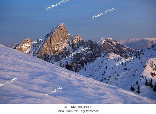view to Ruchenköpfe in the evening light, Mangfall Mountains, Bavarian Alps, Bavaria, Germany