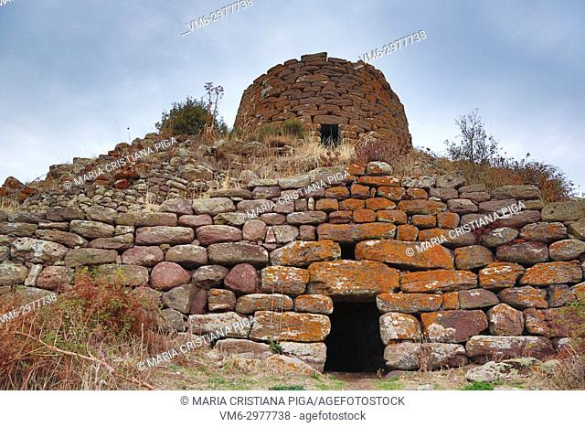 Nuraghe Orolo, near Bortigali, Sardinia, Italy. Nuraghes are prehistoric dwellings typical in Sardinia. The main tower is 14 metres high and is a tholos-style...