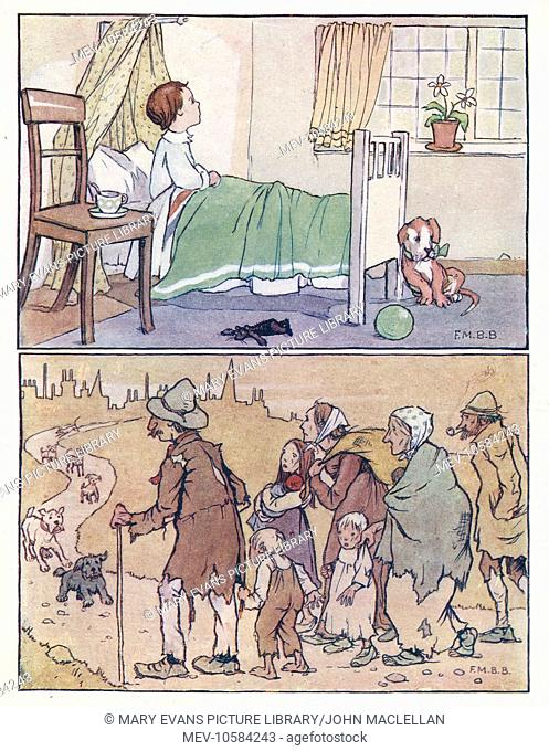 Nursery Rhymes -- two illustrations. Above -- a little boy sits up in bed and looks out of the window. Below -- a group of beggars approach a town
