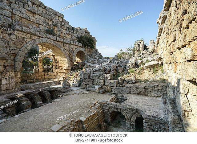 Perge Baths. Old capital of Pamphylia Secunda. Ancient Greece. Asia Minor. Turkey