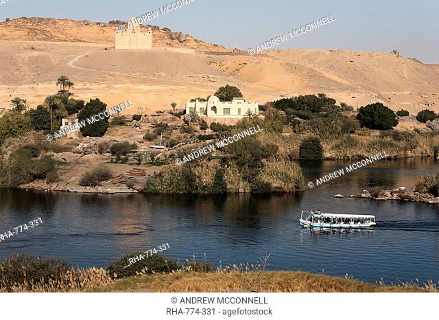 Overlooking the River Nile and the Mausoleum of Aga Khan, Aswan, Egypt, North Africa, Africa