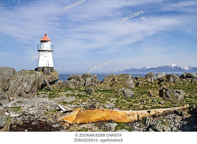 Walfischkadaver mit Leuchtturm auf der nördlichsten Spitze der Lofoteninsel Gimsoya