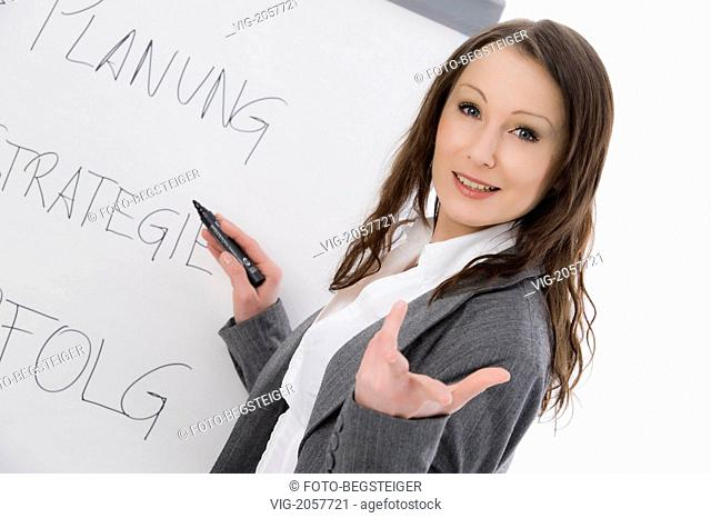 business woman with flip chart - 26/03/2010