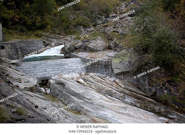 Switzerland, Europe, Ticino, Val di Prato, water catchment, water, mountain brook, Riale della Valle di Prato