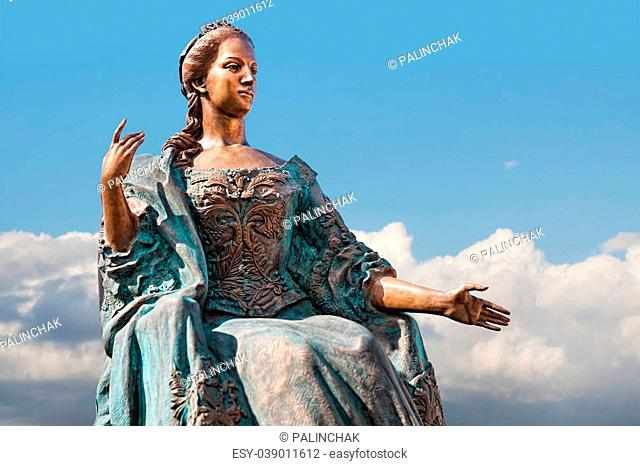 UZHGOROD, UKRAINE - Apr. 05, 2015: Statue of Empress Maria Theresa Archduchess of Austria, Empress of the Holy Roman Empire, Queen of Hungary, Bohemia, Croatia