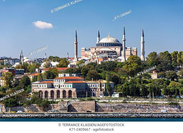 The city skyline with the Hagia Sophia Museum from the Sea of Marmara in Istanbul, Turkey, Eurasia