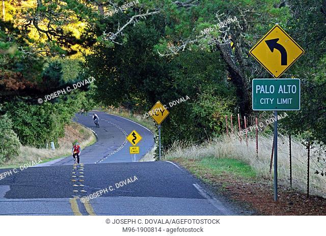 Two lane highway entering Palo Alto, CA, USA, NMR