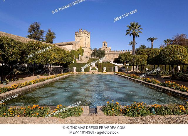 Gardens - of the Alcazar de Los Reyes Cristianos Cordoba, Cordoba province, Andalusia, Spain