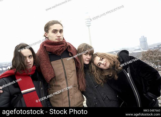 friends on Olympiaberg, Olympiapark, Munich, Bavaria, Germany