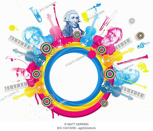 Multicolored collage of classical music composers