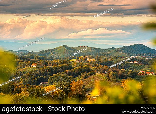 Vineyards in South Styria, beginning of autumn. Austria Tuscany like spot