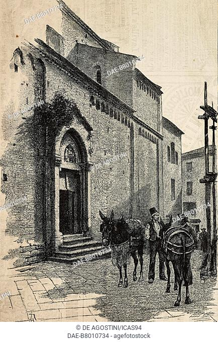 Side door of the San Siro Co-cathedral, Sanremo, Liguria, Italy, engraving from The Illustrated London News, No 2561, May 19, 1888