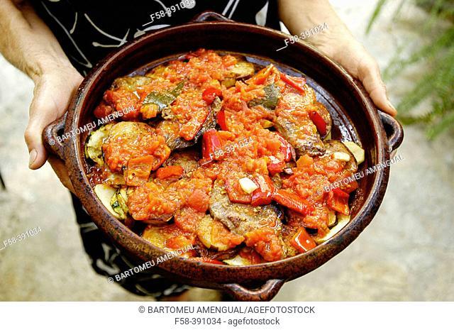 Tumbet, traditional dish from Mallorca. Majorca. Balearic Islands. Spain