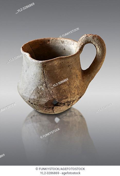 Hittite terra cotta cult side handled spouted jug. Hittite Period 1650 - 1450 BC, Ortakoy Sapinuvwa . Çorum Archaeological Museum, Corum, Turkey
