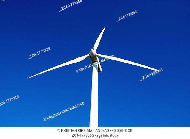 Scandinavian windturbine against blue sky