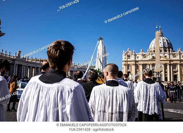 Traditional Catholic procession in Rome, Italy