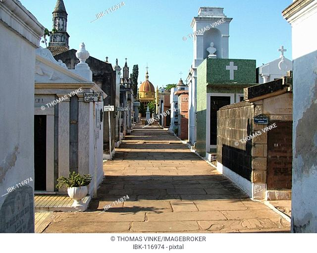 Lane with mausoleums at the famous catholic cemetery Asuncion, Paraguay
