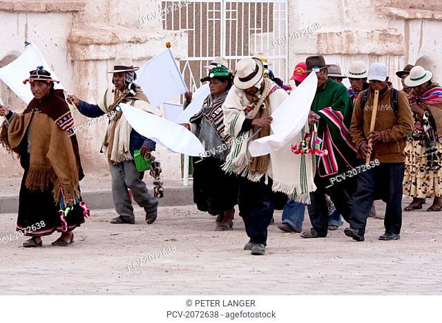 Aymara Elders In A Procession To Santiago De Curahuara De Carangas Church During Carnival, Curahuara De Carangas, Oruro, Bolivia