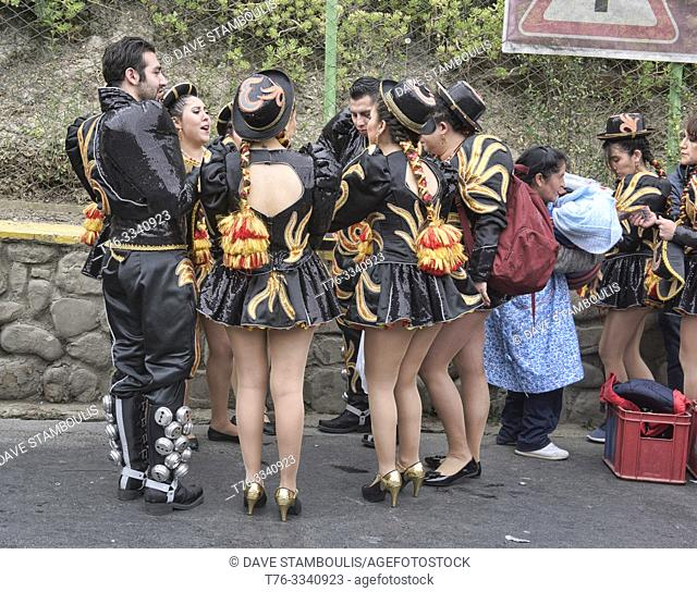 Dancers with short skirts at the colorful Gran Poder Festival, La Paz, Bolivia