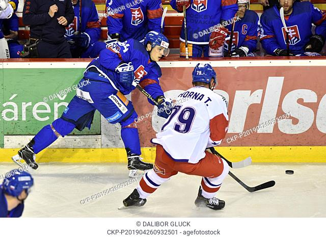 Patrik Koch of Slovakia, left, and Tomas Zohorna of Czech Republic in action during the Euro Hockey Challenge match Slovakia vs Czech Republic in Trencin