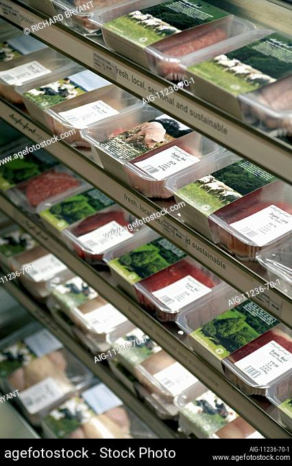 Daylesford Organic Concession in Selfridges Food Hall, London. Meat Display Unit detail