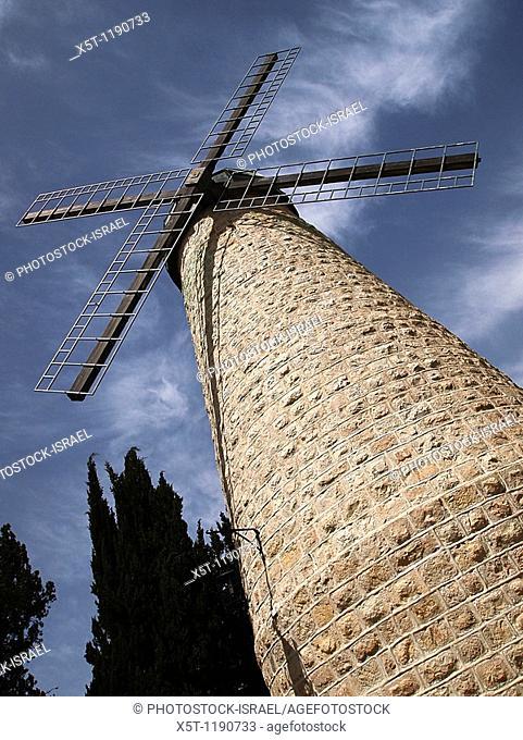 The windmill at Yemin Moshe, Jerusalem, Israel, the first Jewish residence built outside the Old City walls is named after Sir Moses Montefiore who established...