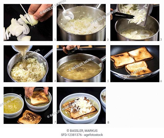 Preparing French onion soup