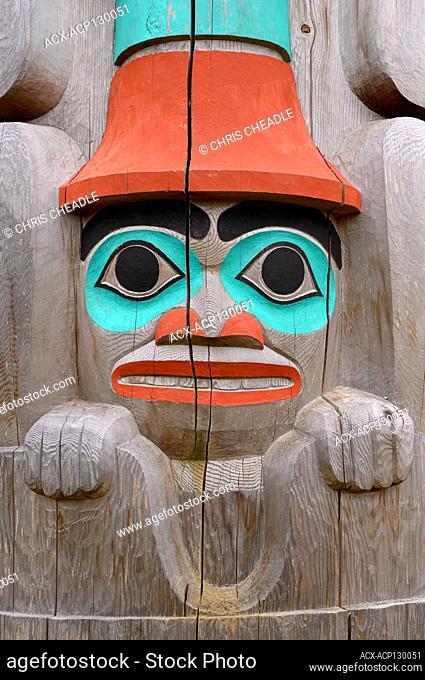 Gidansda, Percy Williams memeorial pole, by Gidansda Guujaaw, Skidegate, Haida Gwaii, Formerly known as Queen Charlotte Islands, British Columbia, Canada