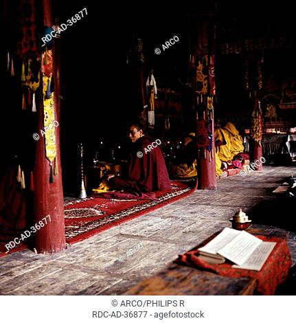 Monks in monastery Likir, Ladakh