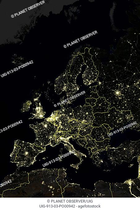 Europe At Night With Country Borders, True Colour Satellite Image. True colour satellite image of Europe at night with country borders