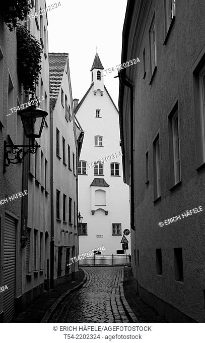 A Narrow alley in the old town of Augsburg