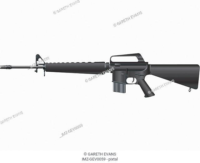 A picture of a handheld M-16A1
